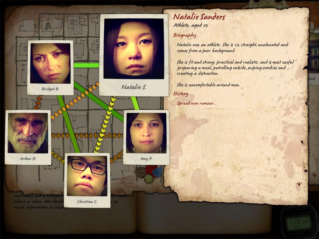 Survivor screen showing relationship diagram